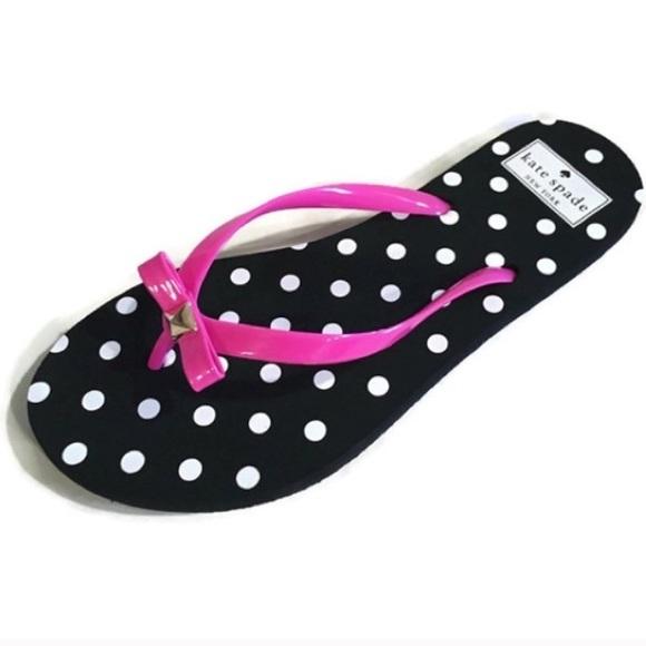 Kate Spade - Kate Spade Bow Polka Dot Flip Flops Sandal -1771